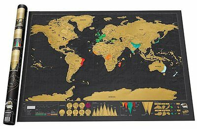 Map of the World Large Black & Gold Deluxe Edition Poster 32.5 inche X 23.4 inch