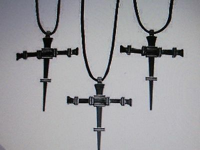 12 Pewtertone Metal NAIL CROSS NECKLACES religious jewelry FREE SHIP crosses