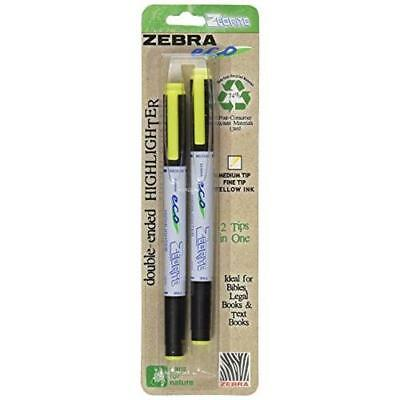 Zebra Eco Zebrite Double-Ended Highlighter, Yellow, Chisel and Fine Point,