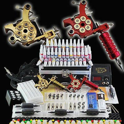 Tattoo Kit Tatuaggio 2 macchina Tatuaggi Gun Power Kit Set 40 Inchiostro FAST DE