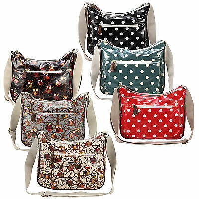 Oilcloth Polka Dots Owl Messenger Cross Body Satchel Shoulder Bag Double Zipper