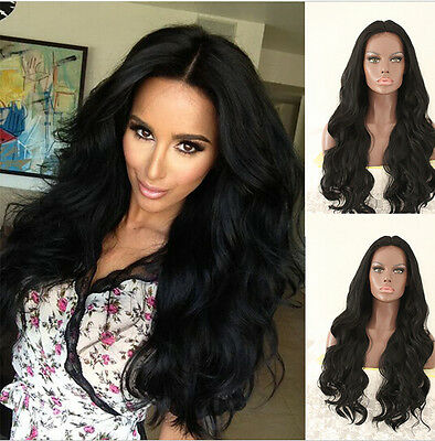 Women's Black Wavy Heat Resistant Hair Synthetic Lace Front Wig Natural Hair Wig