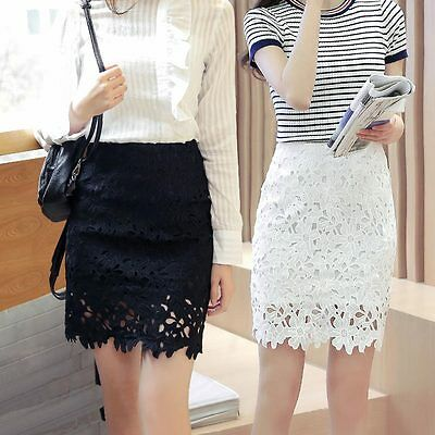 Fashion Women Lace Flower Skinny Skirt A-Line Hollow Out White Black Knee Length