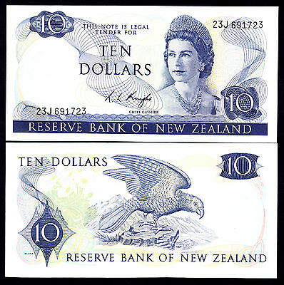 New Zealand NZ R.L.Knight (1975-77) $10 Crisp aUNC Note P. 166c Cat=$400