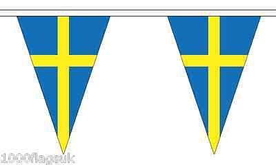 Sweden Triangular Flag Bunting - 20m Long - 54 Flags