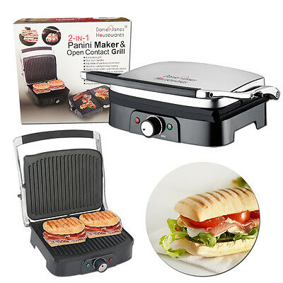 Stainless Steel Large 2 In 1 Sandwich Panini Toastie Maker Press Health Grill