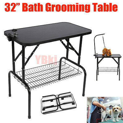 Adjustable Arm Non Slip Surface Portable Heavy Pet Dog Cat Grooming Table Tray