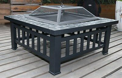"32"" Square Metal Fire Pit Outdoor Heater"
