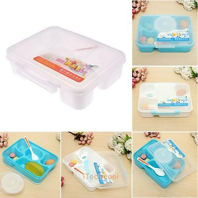 Lunch Box Food Soup Container Storage 5-Compartment Portable Bento Box + Spoon