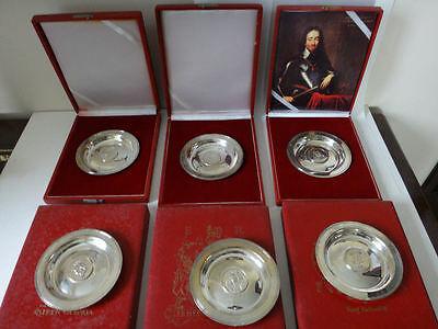 Cased solid silver dishes x 6 - 25.55 tr oz Monarchs of UK full set ltd ed 1500