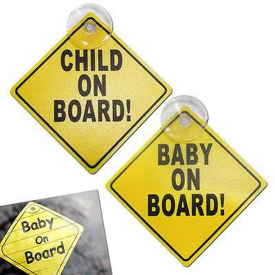 Twin Pack Baby Child On Board Sign Suction Cup Vehicle Car Driving Safety Bright