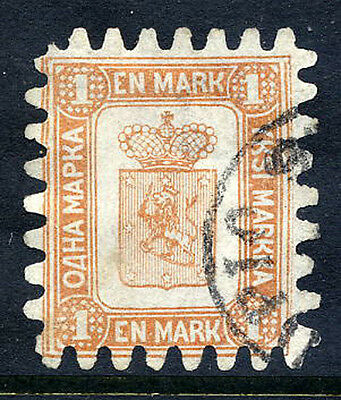 FINLAND 1867 1 Mk. brown/white roulette II, used