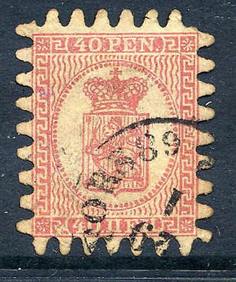 FINLAND 1866 40p rose, roulette III used