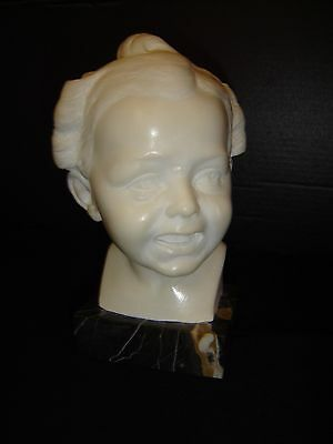 Antique White Marble Crying Child Boy Bust Sculpture Signed.