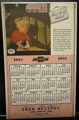 1935 Chevrolet Dealer Promotional Calendar Fisher Body Fred Hulston Ash Grove Mo