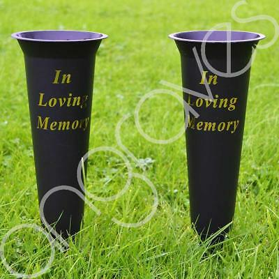 Set of 2 Black In Loving Memory Spiked Memorial Grave Flower Vases Container Hol