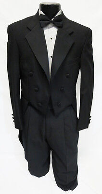 48XL Mens Black Wool Chaps Formal Notch Tuxedo Tailcoat Butler Debutante Formal