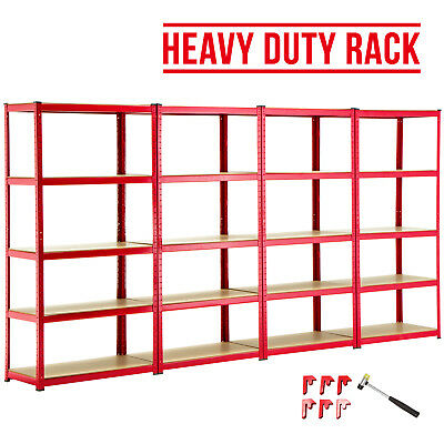 4 Bay Heavy Duty 5 Tier Shelf Garage Shelving Unit Steel Racking W/ Free Mallet