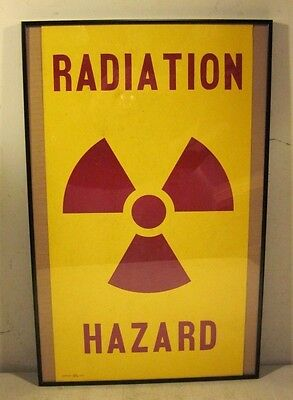 Vintage 1966 United States Continental Army Command Radiation Hazard Sign Framed