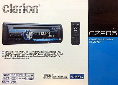 NEW Clarion CZ205 Single DIN In-Dash CD/AM/FM Car Stereo, Front-Panel USB & AUX