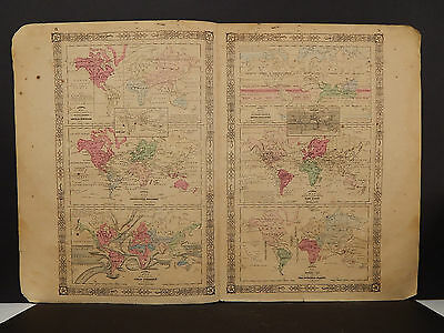 Johnson's Maps, 1864, Ocean Currents, Animals, Industry O3#64