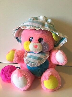 Vintage 1986 80's Mattel Popples Baby Cribsy striped pink plush with rattle!