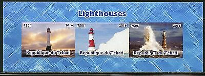 Chad 2016  Lighthouses Sheet Of Three Imperf Part I  Mint Nh