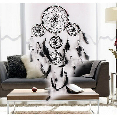 Black+White Feather Dream Catcher Wall Hanging Car Home Decor Christmas Gifts