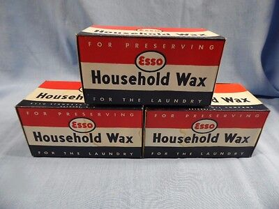 3 Vintage Esso Household Wax Unused Boxes Gas Oil Advertising