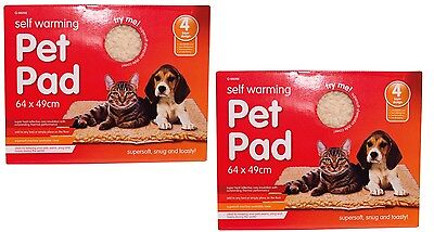 2x Self Heating Pet Mats Thermal Cat Puppy Dog Mat Bed Animal Warm Washable Rug