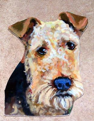 """Airedale Terrier Hand Made Painted Wood Wall Hanging Gift 6"""" Original"""