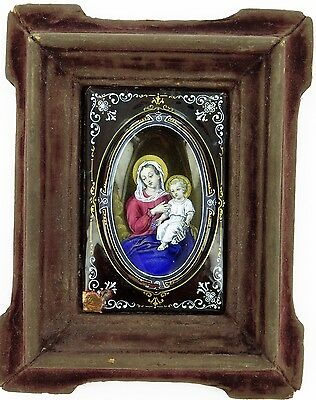 .Stunning Antique Enamelled Icon. Virgin Mary & Baby Jesus Wall Hanger