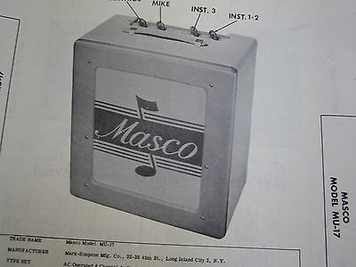 Masco Mu-17 Musical Instrument Amp Amplifier Photofact