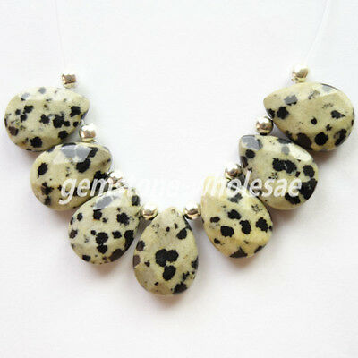 Marvelous 18x13mm Faceted Dalmation Jasper Teardrop Pendant Bead 7Pcs/Set T185