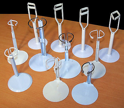 """Lot of 11 White Doll Stands - Fit Slim Dolls up to 14"""" - EUC"""
