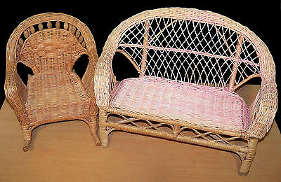 """Nice Wicker Sofa & Rocking Chair - Fits AG or Other 18"""" Dolls - VGC"""
