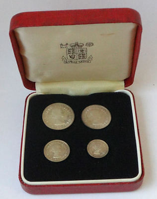 Maundy coin cased set 1964 QEII - 4 x genuine silver COINS - aUNC condition -921