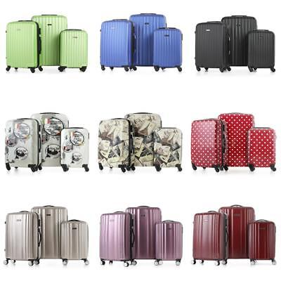 3PCS Suitcase Set PC + ABS Carry-on Luggage Hard Shell Lock Trolley Spinner X2T8