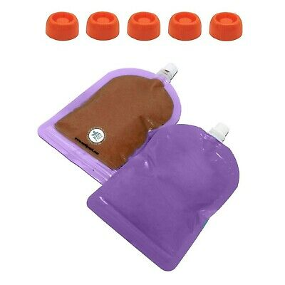 My Lil Pouch 140ml Purple Top Spout Reusable Food Pouch 5pk With Choke Free Lids