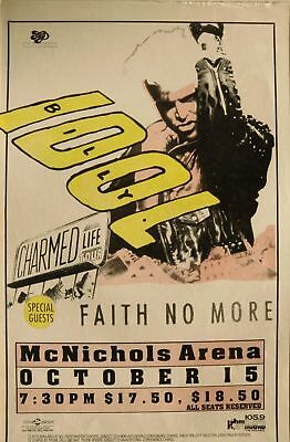 """Billy Idol / Faith No More """"charmed Life Tour"""" 1991 Denver Concert Poster"""