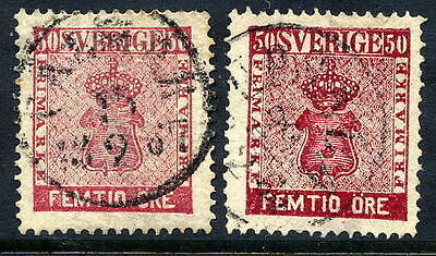 SWEDEN 1858 50 öre in two shades, fine used