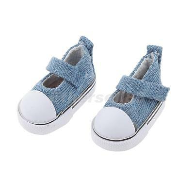 Pair Canvas Ankle Strap Shoes For 1/6 BJD Doll Clothing Accessory Denim Blue
