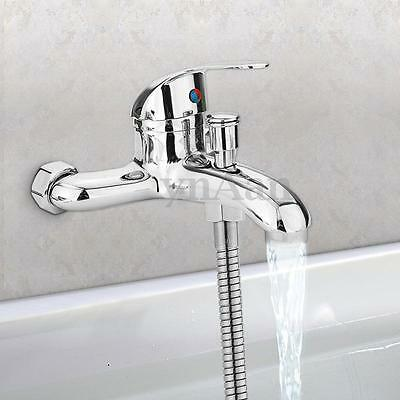 Chrome Wall Mounted Hot/Cold Water Dual Spout Mixer Tap Faucet Bath Shower Basin