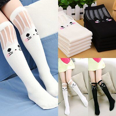 1 Pair Girls Animal Cotton Knee High Children Kids School Socks With Bow Size