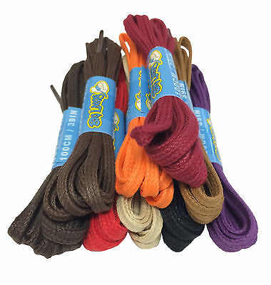 WAXED FLAT COTTON SHOE LACES SHOELACES - 4mm wide - 16 COLOURS - FREE UK P&P!