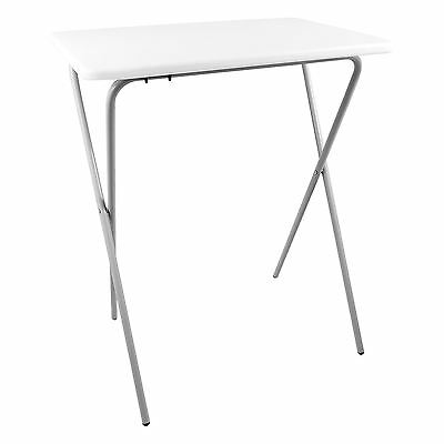 White Folding Lightweight Tray Table Desk Ideal For Laptops Camping TV Dinner