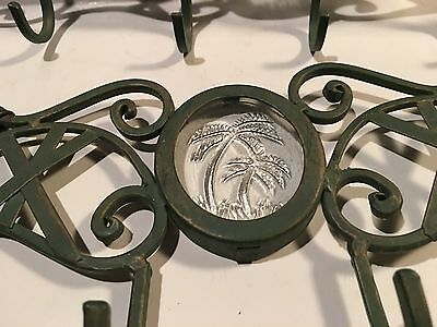 "14"" Green Cast Iron & Glass Palm Tree 4 Hook Coat Hat Wall Hook Set Of 2"