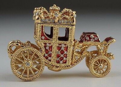 Red Faberge  Carriage Trinket Box by Keren Kopal with Austrian Crystal