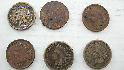 1859 1863 1864 1875 1896 1909  small cent US lot of 6 coins circulated