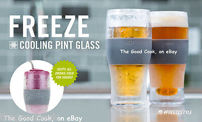 Set of 2  Host Freeze 16 oz Pilsner Pint Beer Chilling Glass Keeps Beer Cold New